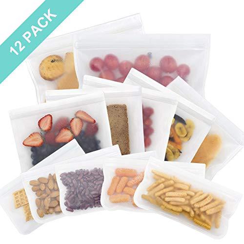 OFUN Sandwich Tasche, Lebensmittel Beutel für Hause Obst/Gemüse/Milch/Snacks/Fleisch/Brot, Wiederverwendbare Aufbewahrungs Beutel aus Silikon & PEVA mit Doppelt Reißverschluss ohne BPA, 12pcs
