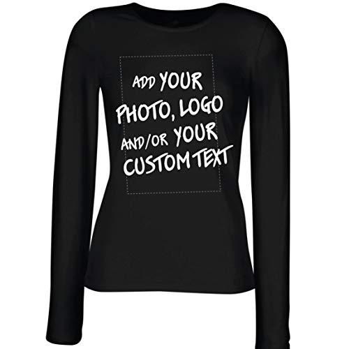 lepni.me Camisetas de Manga Larga para Mujer Regalo Personalizado, Agregar Logotipo de la Compañía, Diseño Propio o Foto (Large Negro Multicolor)