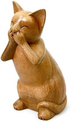 NOVICA 182534 Speak No Evil Cat' Wood Sculpture