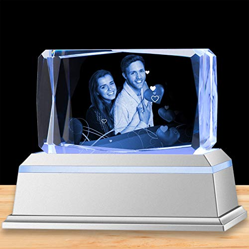 3D Crystal Photo Personalized in Glass Laser Etched Picture Rectangle Engraved Cube Paperweight with Light as Gift and Souvenir for Women Men Girl Boy Birthday Wedding Small Horizontal