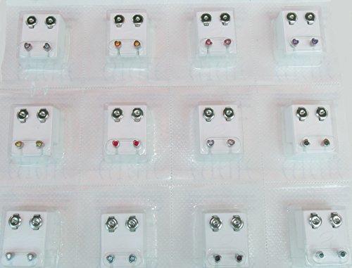 24 Ohrstecker (12 Paar) Stahl mit 12 Farben, Herzform