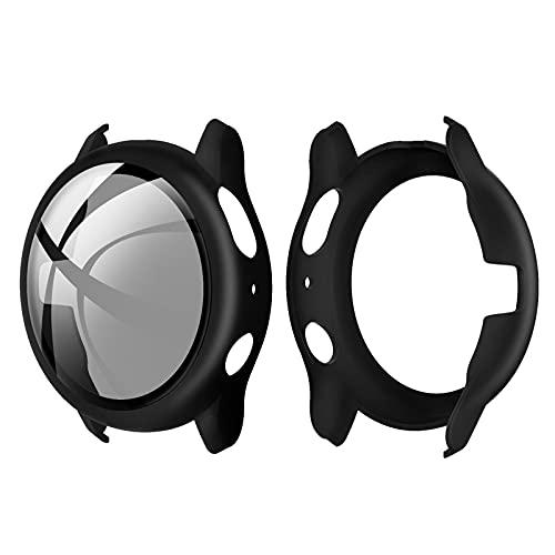 Romacci Capa de PC rígido com protetor de tela de vidro temperado Capa protetora completa Substituição do escudo do pára-choque fino e transparente para Samsung Galaxy Watch Active 2 40mm preto