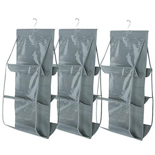 Saijer Borsa organizzatore Armadio, 3 PCS con 6 Tasche Grigio Non Tessuto Il Salvaspazio Pensile per Armadio Camera da Letto
