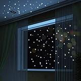 Adolenb 407 unids/Pack Luminoso Punto Sala de Estar decoración de la habitación de los niños Fluorescente Etiqueta de la Pared Pegatinas de Pared