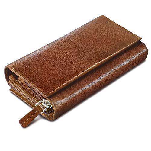 ROYALZ Vintage Leder Geldbörse für Damen Portemonnaie groß mit vielen Fächern RFID-Blocker Brieftasche Querformat, Farbe:Texas Braun