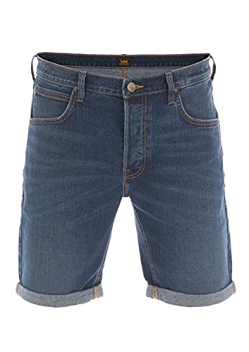 Lee Herren Jeans Short Regular Fit Kurze Stretch Shorts Baumwolle Bermuda Sommer Hose Blau w33, Bright Blue (L73esgjz), 33