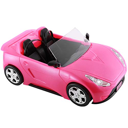 KeepRunning Convertible Car for Dolls, Glittering Fuchsia Convertible Doll Vehicle with Working Seat Belts