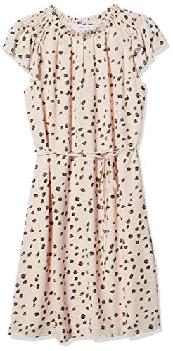 Lark & Ro Women's Georgette Split Neck Ruched Flutter Sleeve Dress, BEIGE STEELY ANIMAL, 2