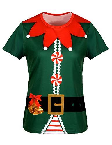 COSAVOROCK Disfraz de Elfo Mujer Camiseta de Navidad Verde 4XL