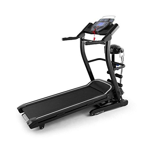 Klarfit Pacemaker FX5 - Tapis roulant, Tappeto Elettrico, velocità Regolabile, 1,5 Cavalli, Fascia Massaggiante, 12 Programmi, Altoparlante + AUX, Max. 120 kg, Richiudibile, Blu/Bianco