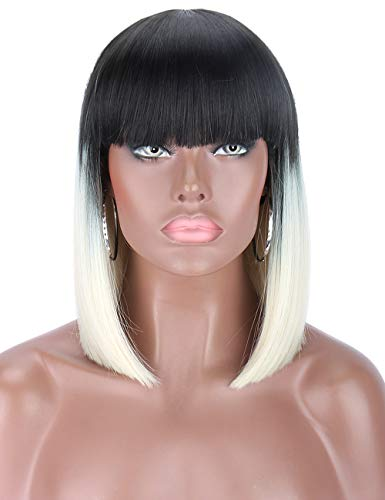Kalyss Short Ombre Platinum Blonde 2 Tones Black to Blonde Bob Wigs with Hair Bangs Heat Resistant Yaki Synthetic Straight Hair Wigs for Women
