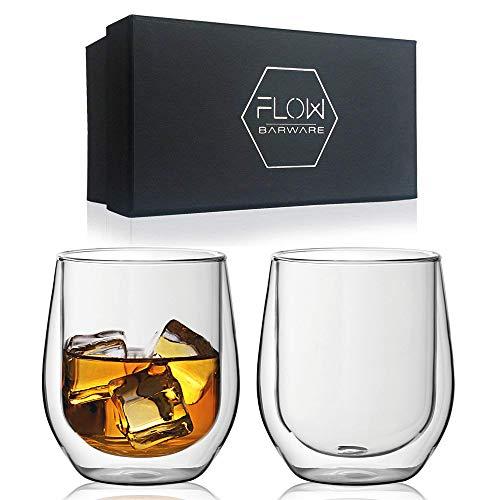 Vasos de whisky de doble pared, vasos de vidrio aislados para bebidas frías o calientes, café, ginebra, ron, whisky, set de regalo