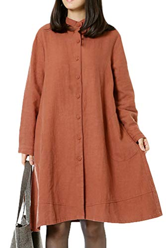 Mordenmiss Women's Cotton Linen Full Front Buttons Jacket Outfit with Pockets Style 1 XXL Orange Red