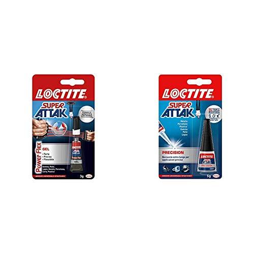 Loctite Super Attak Power Flex Gel, adesivo trasparente e istantaneo specifico per materiali flessibili & Precision, Colla liquida trasparente con beccuccio extra lungo