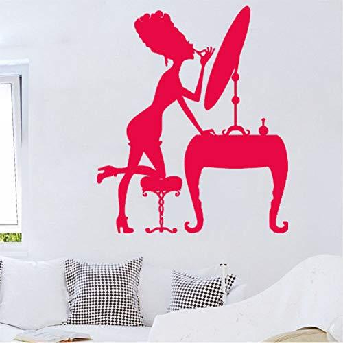 Ponana Make Up Mädchen Wandtattoo Spiegel Stuhl Schöne Frau Wandaufkleber Schönheitssalon Grafiken Home Decor Vinyl Aufkleber 44X38 Cm B