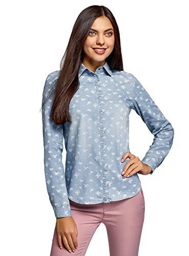 oodji Ultra Mujer Camisa Vaquera con Botones a Presión, Azul, ES 40 / M