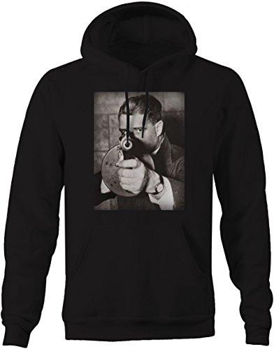 Bold Imprints American Gangster Mobster Tommy Gun Mafia Graphic Hoodie for Men Medium Jet Black