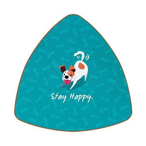 Posavasos triangulares para bebidas, diseño de perro Aqua Cote Stay Happy de cuero, para proteger muebles, resistente al calor, decoración de bar de cocina, juego de 6