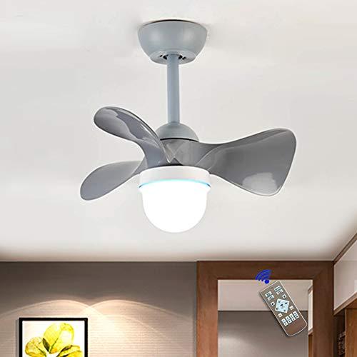 Ventilador De Luz De Techo LED Moderno Nórdico Lámpara De Techo Ventilador Invisible Ultradelgado 36W Araña De Ventilador Velocidad Del Viento Ajustable Dormitorio Sala Iluminación (Ø55cm),Gris