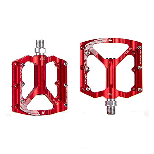 SQATDS Aluminum Alloy MTB Bike Bicycle Pedals Anti-skid Cycling Sealed Bearing Parts Outdoor Personal Bicycle Pedal Pedals (Color : Red)
