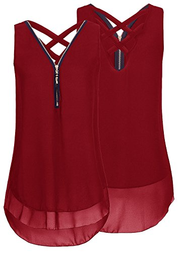Flying Rabbit Damen Shirt Chiffon Bluse Langarmshirt mit Reißverschluss Vorne V-Ausschnitt Tops T-Shirt,rot,XXL