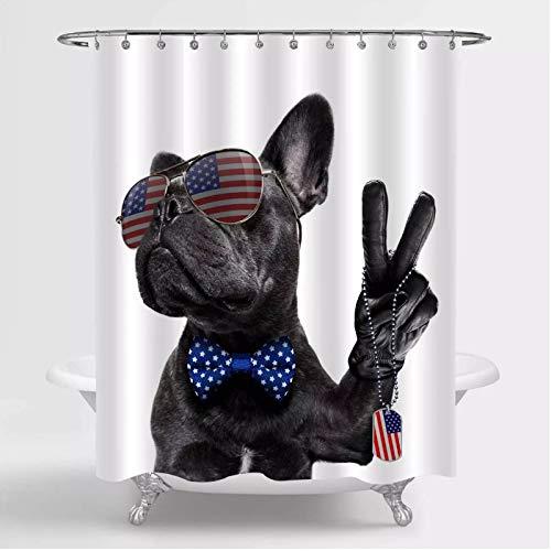 Patriotischer H& Duschvorhang für Unabhängigkeitstag Badezimmer Dekor, Bulldogge winkt eine Flagge & Sieg
