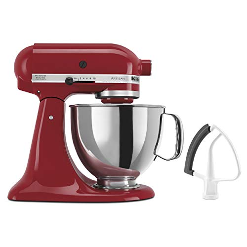 KitchenAid KSM150FEER Artisan Bundle Stand Mixers, 5 Quart Flex Edge Beater, 10-Speed, Tilt-Head, Dough Hook, Stainless Steel Bowl, for Cookies, Cakes, Bread, Pizzas, Mashed Potatoes, Empire Red