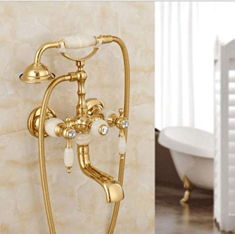 Dusche European Gold Duschset Kupfer Handbrause Badewanne Dusche Badewanne Dusche Mischbatterie