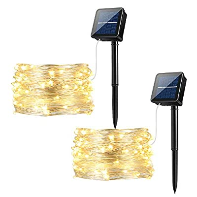 Solar String Lights Warm White, Ankway 100LED Solar Fairy Lights 3-Strand 8 Modes IP65 Waterproof Solar Powered String Lights for Christmas Home Window Bedroom Tree Plant Patio Garden Indoor Outdoor