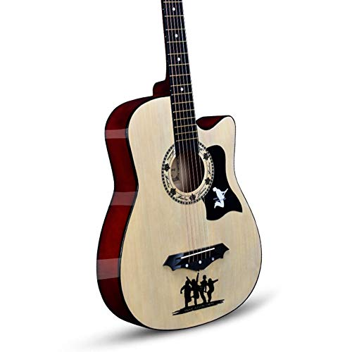 YJFENG Akustische Gitarre,Kupferschnur Ulmenholzplatte Breiter Frequenzbereich Cutaway-Gitarre Verblasse Nicht 38 Zoll Anfänger Unterhaltung Im Freien,9 Farben (Color : Natural, Size : 96cm)