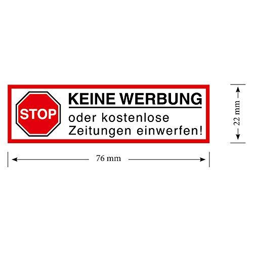 Keine Werbung! 1 weißer Briefkastenaufkleber 80x26 mm Aufkleber STOP Bitte keine Werbung und kostenlose Zeitungen einwerfen - Aufkleber für den Briefkasten