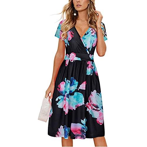 gfdrt Vestido de verano 2021 para mujer, con cuello en V, cintura alta, estampado floral, estilo bohemio, G210606018