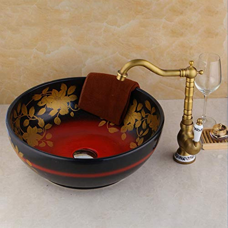 Ayhuir Künstler Design Badezimmer Toilette Becken Waschbecken Gehrtetes Glas Waschbecken Schüssel Handmalerei Finish Messing Wasserhhne