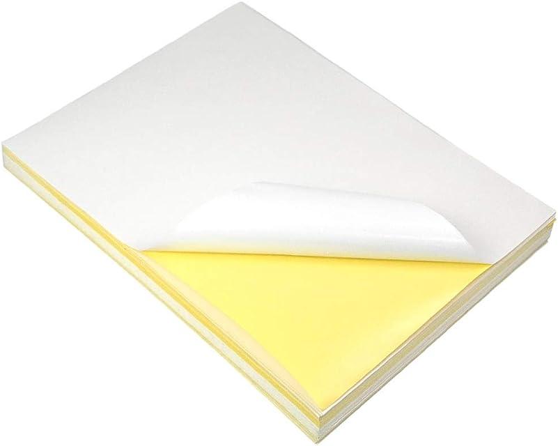 Granvoo Etiquetas adhesivas A4 Sticker Paper 297mm x 210mm con papel brillante + pegamento para impresoras láser impresoras de inyección de tinta y copiadoras