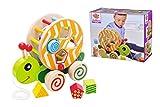 Eichhorn 100002231 NachziehStecktier, mit 4 versch. Steckbausteinen, Birkenholzspielzeug mit Bewegung, für Kinder ab 1 Jahr, Größe: 15x24x19,5cm