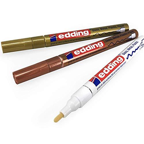 Edding 751/780 Rotuladores de Pintura -0.8-2mm- Blanco, Oro y Cobre - Paquete de 3