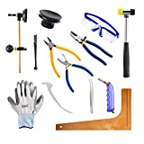 Professional 13 Pieces Mosaic tile and Stained Glass Start-up Tool Set with Carrying Case, Lead Came Kit for Beginner with Cutters, Pliers, Square, Hammer, Fid, Safety Glass, etc