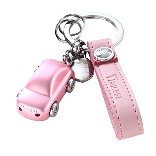 MILESI Freedom Road Trip Car Special Keychain with Led Light Fashion Pendant (Pink Car)