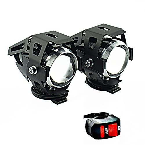 Fyjhunann U5 LED Faro de la Motocicleta Lámpara Auxiliar Motorbike Spotlight Moto Fog Spot Light para Motocicletas, Motos, ATV, UTV, Scooter. hnfyj (Color : Two Pieces Switch)