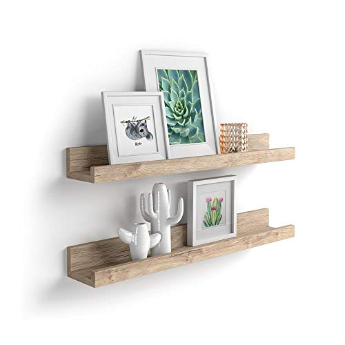 Mobili Fiver, Par de estantes para Cuadros, Modelo First, 60 cm, Encina, Aglomerado y Melamina, Made in Italy