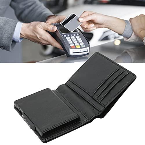 FOLOSAFENAR Tarjetero para Tarjetas de Visita, Estuche para Tarjetas de crédito Duradero Antideslizante Sensación táctil cómoda para Guardar(Black, x-54#Leather)