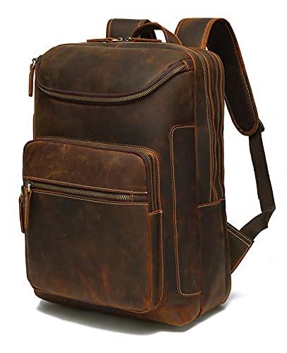 Lannsyne Vintage Vera Pelle 16 pollice Laptop Zaino Per Gli Uomini Escursionismo Viaggio Zaino Campeggio