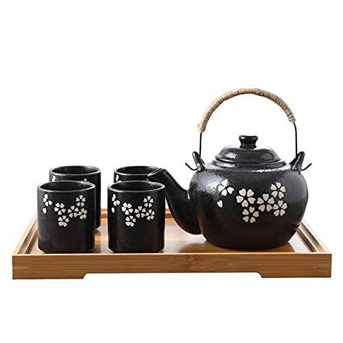 fanquare Servizio da Tè Kungfu Giapponese con Infusore, Servizio da Tè in Porcellana con Fiori di Ciliegio Bianco, Teiera Fatta a Mano per 4 Persone con Vassoio da Tè in Bambù