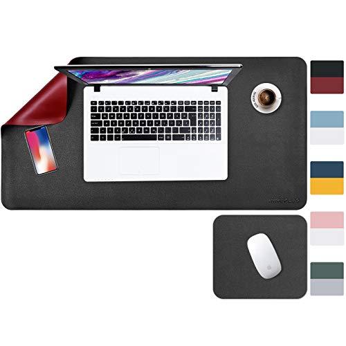 Schreibtischunterlage, 80 x 40 cm + 20 x 28 cm, XL, Schreibtisch-Schutz, Schreibtischunterlage aus PU-Leder, wasserdicht, doppelseitig (schwarz/rot)