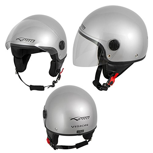 A-Pro Motorradhelm Motorrad Roller Jet Helm Demi Mit Viser Silber 2XL