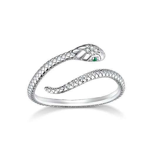QiaoJia Anel de prata S925, anel de cobra, aberto e ajustável, abraçando as mãos abertas, anel de compromisso para mulheres, meninas, homens