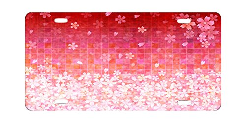DQVWGK Pink Cherry Japanese Custom Aluminum License Plate Frames Cover For Car License Plate Cover With 4 Holes Car Tag 6'x12'