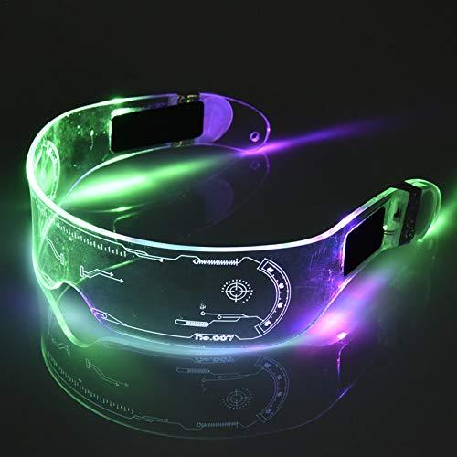 su-luoyu Neon EL Wire LED Leuchtende Brille LED Light Up Gläser Leuchtend Brillen Kabellos LED Blinkt Shutter Sonnenbrillen Für Halloween Weihnachtsfeiern Disco DJ