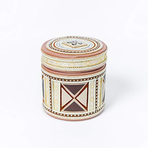 Caja de almacenamiento redonda de piel sintética Organizador de caja de joyería Joyero decorativo de escritorio con tapa (2)