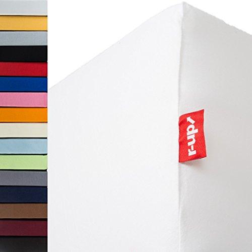 r-up Beste Spannbettlaken 90x200-100x220 bis 35cm Höhe viele Farben 95% Baumwolle / 5% Elastan 230g/m² Oeko-Tex stressfrei auch für hohe Matratzen (Weiss)